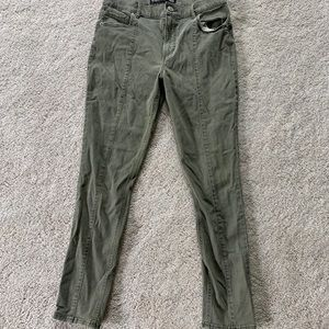 Express High Waisted Olive Ankle Skinny Jeans